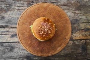 herbed lamb burger top view