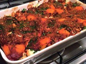 pumpkin spinach and lentil lasagne